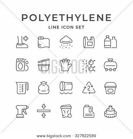 Set Line Icons Of Polyethylene Or Polythene Isolated On White. Vector Illustration