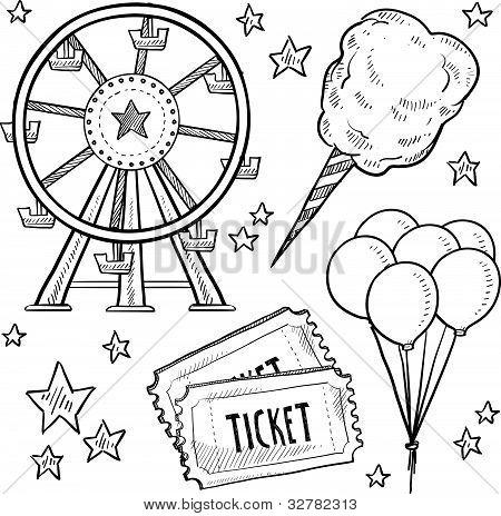 Amusement park objects sketch
