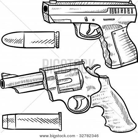 Detailed handgun sketches
