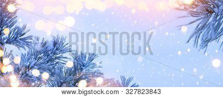 Christmas Lantern. Christmas And New Year Holidays Background With Christmas Tree And Holiday Light,