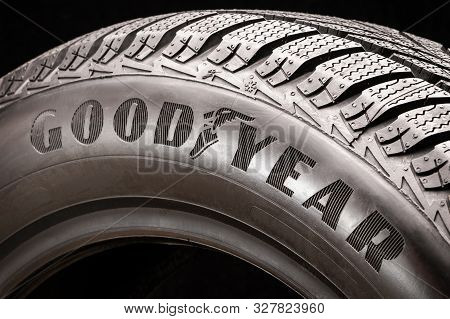 Krasnoyarsk, Russia, September 2019: Goodyear Logo On The Sidewall Of A Black Tire Close-up. World T