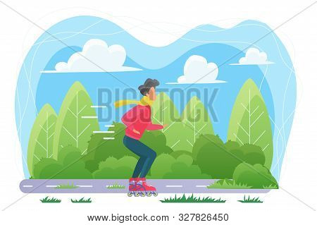 Guy On Roller Skates Flat Vector Illustration. Young Man In Scarf, Sportsman Cartoon Character. Male