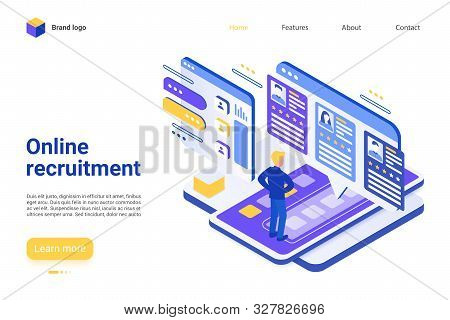 Online Recruitment Landing Page Vector Template. Employment Agency Website Homepage Interface Layout