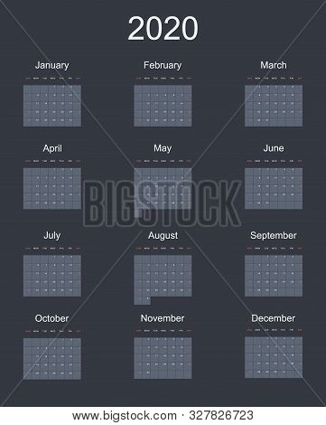 2020 New Year Vector Calendar In Minimal Simple Style On Dark Background. Week Starts In Sunday, Twe