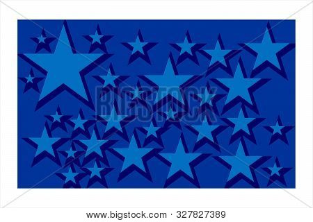 Blue Background And Decorated With Many Stars,