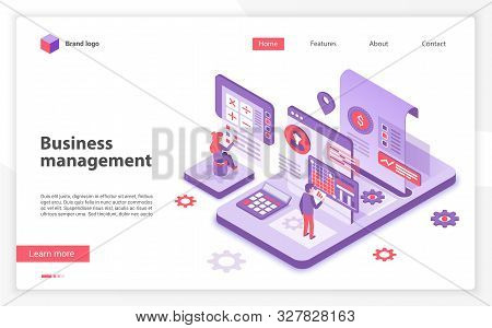 Business Management Landing Page Vector Template. Corporate Development Website Homepage Interface L