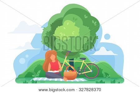 Girl Reading Book Under Tree Flat Vector Illustration. Smart Young Woman, Student Studying Outdoors