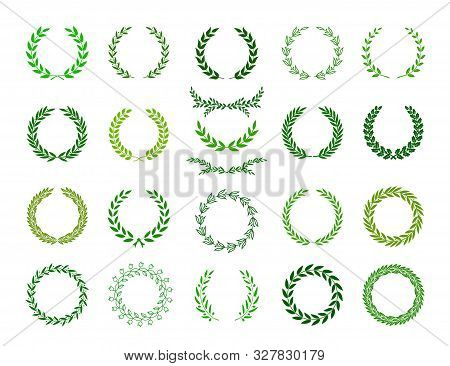 Set Of Green Silhouette Laurel Foliate, Oak And Olive Wreaths Depicting An Award, Achievement, Heral