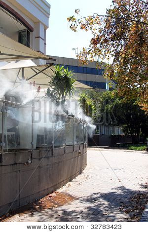 Cooling Fogger At Outdoor Restaurant