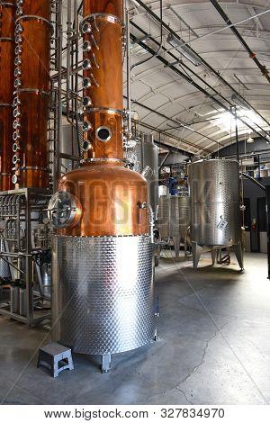 SANTA ANA, CALIFORNIA - 14 OCT 2019: Still inside the Blinking Owl Distillery, the first craft distillery in Orange County.