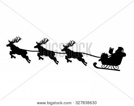 Silhouette Santa In Sleigh And Flying Reindeers. Symbol Happy Merry Christmas. Vector Illustration