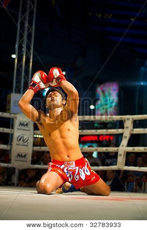 Muay Thai Arms Raised Kneeling Wai Khru