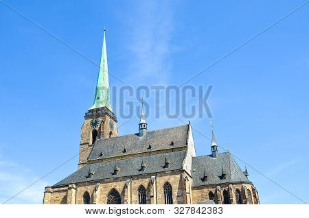 Detail Of Gothic Saint Bartholomew Cathedral In Plzen, Czech Republic. Historical Cathedral In The C