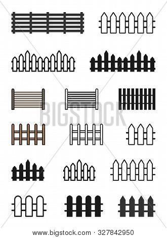 Fence Icon Set Vector Illustration. Flat Fence Icon