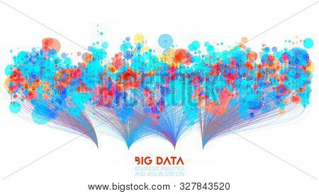 Vector Abstract Colorful Big Data Information Sorting Visualization. Social Network, Financial Analy