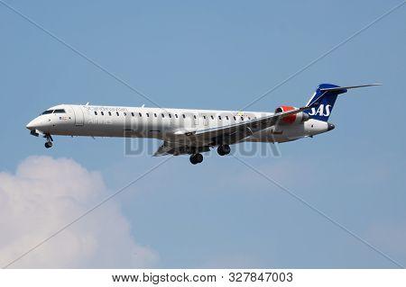 London / United Kingdom - July 14, 2018: Sas Scandinavian Airlines Bombardier Crj-900 Ei-fpv Passeng
