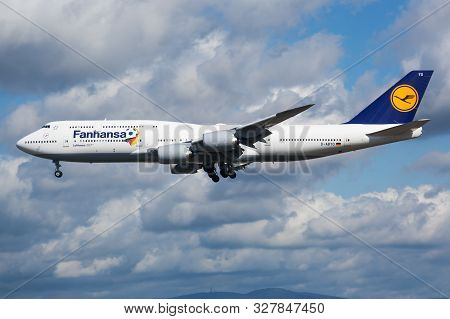 Frankfurt / Germany - August 12, 2014: Lufthansa Special Sticker Boeing 747-8 D-abyo Passenger Plane