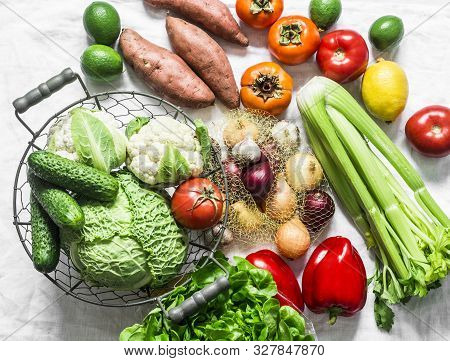 Fresh Organic Vegetables, Fruits On A Light Background, Top View. Healthy Diet Food Concept. Sweet P