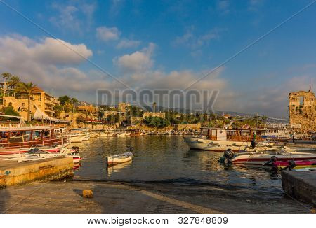 Byblos ,Lebanon- May 4 ,2017 : Ancient old harbour port of Byblos Jbeil in Lebanon Middle east
