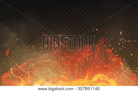 Vector Realistic Isolated Fire Effect With Smoke For Decoration And Covering On The Transparent Back