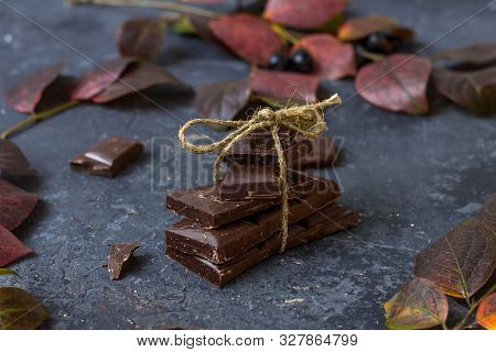 Pieces of dark chocolate and fall leaves on a dark background. Candy sweet dessert and snack. Dark chocolate is an antioxidant and boosts energy and serotonin. Close up poster