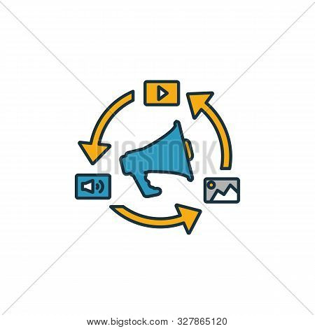Content Marketing Icon Set. Four Elements In Diferent Styles From Content Icons Collection. Creative