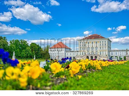 Munich, Germany - May 13, 2019 - The Nymphenburg Palace, Schloss Nymphenburg, Is A Baroque Palace In