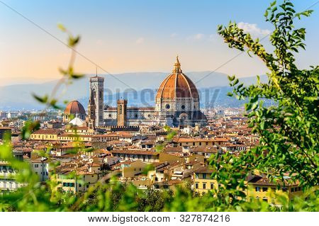 Florence, Italy: Scenic View On Florence Old Town With Duomo Cathedral Of Santa Maria Del Fiore And