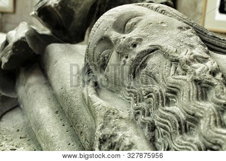 Lisbon, Portugal- June 6, 2018: Architectonic Details Of Do Carmo Convent In Lisbon, Portugal