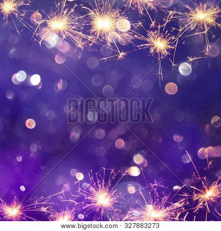 Festive Purple Background With Sparkles Light. Holiday Concept. Beautiful Square Background With Cop