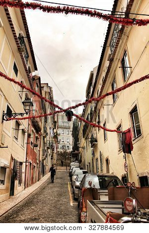 Lisbon, Portugal- June 10, 2018: Streets Adorned With Garlands For The Festivities Of Saint Anthony