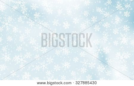 Snow Background. Vector Illustration. Winter Snowfall. White Snowflakes On Blue Sky. Christmas Backg
