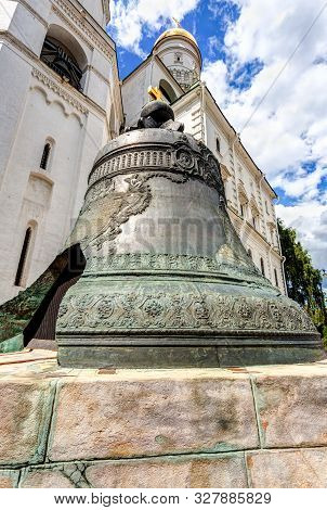 Tsar Bell (tsar-kolokol) In The Moscow Kremlin In Summer Sunny Day. Cast In Bronze In 1735