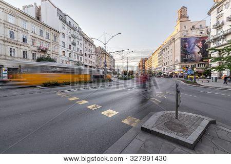 Budapest, Hungary - October 04, 2019: Karoly Street Circle Or Károly Körút Twilight Street View With