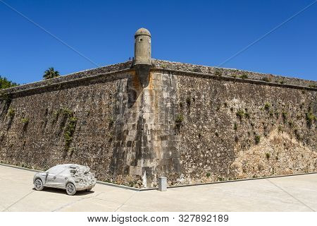 Cascais - August 14, 2019: View Of The Old Rampart Wall And Watchtower Of The 16th Century Citadel O