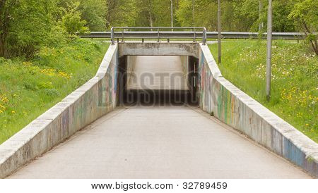 Shot Of A Tunnel For Bicycles And Pedestrians
