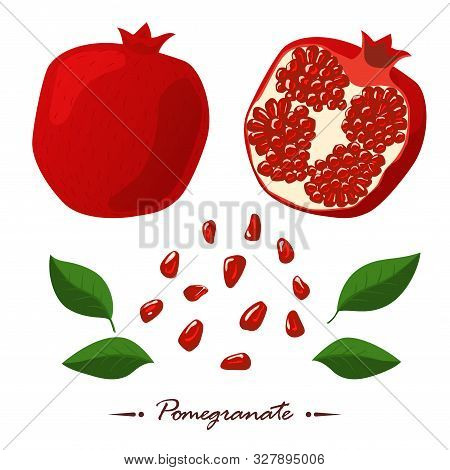 Red Pomegranates And Seeds. Isolated White Background. Cutting Pomegranate. Fresh Pomegranate