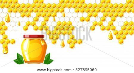 Concept Of Banner For Honey Fairground. Jar Of Honey And Leafs.
