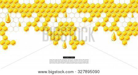 Concept Of Banner For Honey Fairground Or Shop.