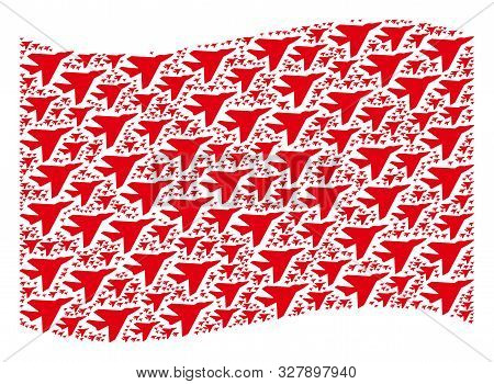 Waving Red Flag Collage. Vector Airplane Intercepter Design Elements Are United Into Geometric Red W