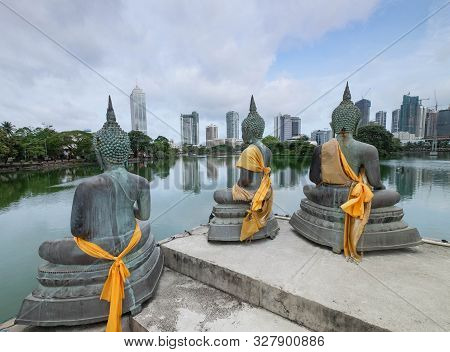 Colombo, Sri Lanka - August 11, 2019: Buddha Statues At Seema Malaka Temple In Colombo, Sri Lanka. O