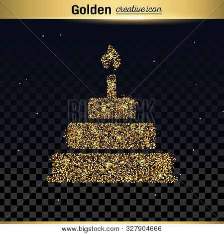 Gold Glitter Vector Icon Of Cake Isolated On Background. Art Creative Concept Illustration For Web,