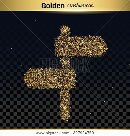 Gold Glitter Vector Icon Of Plaque Isolated On Background. Art Creative Concept Illustration For Web