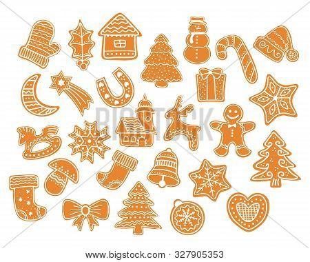 Set Of Gingerbread Cookies Christmas. Christmas Cookies Collection With Gingerbread Cookies Figures.