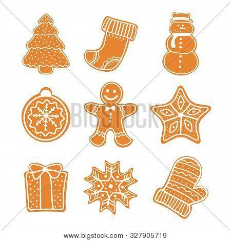 Set Of Gingerbread Cookies Christmas. Christmas Cookies Collection With Gingerbread Cookies Figures