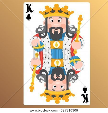 King Of Clubs. Playing Cards With Cartoon Cute Characters.