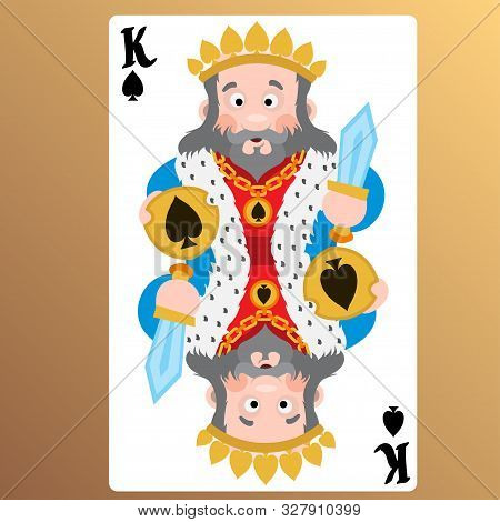 King Of Spades. Playing Cards With Cartoon Cute Characters.