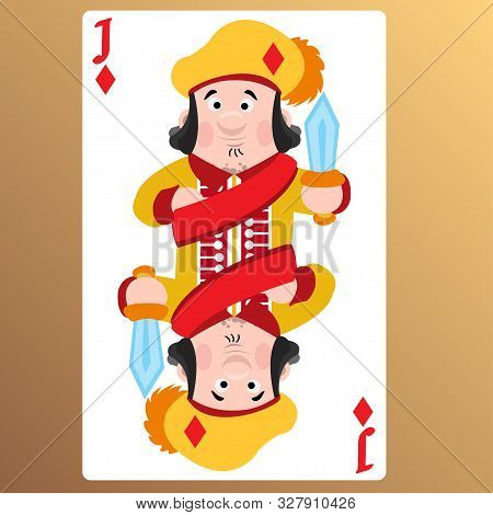 Jack Of Diamonds. Playing Cards With Cartoon Cute Characters.