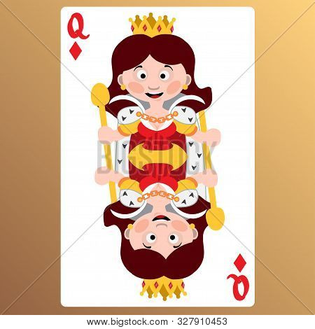 Queen Of Diamonds. Playing Cards With Cartoon Cute Characters.