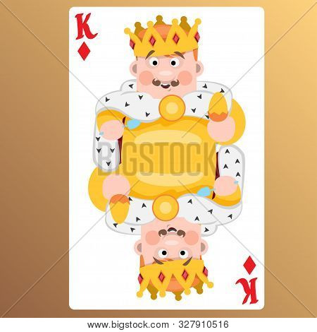 King Of Diamonds. Playing Cards With Cartoon Cute Characters.